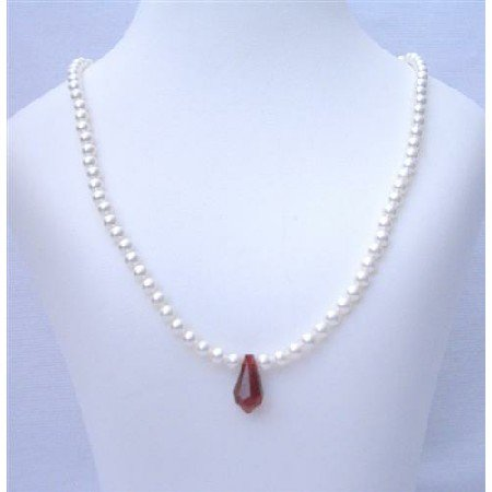 BRD404  Flower Girl White Pearls Jewelry Necklace w/ Siam Red Crystals Teardrop Necklace