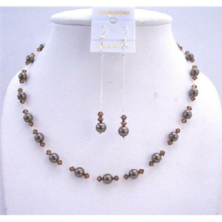 BRD613  Chocolate Pearls Jewelry Set Bridal Bridemaids Dark Chocolate Brown Pearls & Smoked Topaz