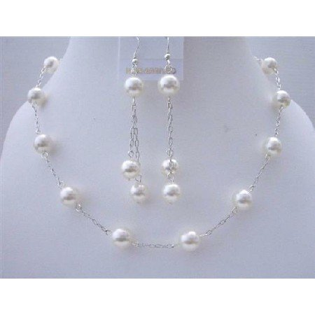 BRD436  White Pearls Wedding Jewelry Genuine Swarovski White Pearls Handcrafted Necklace Set