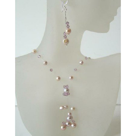 BRD350  Mauve & Pinkish Freshwater Pearls & Swarovski Crystals Necklace Set