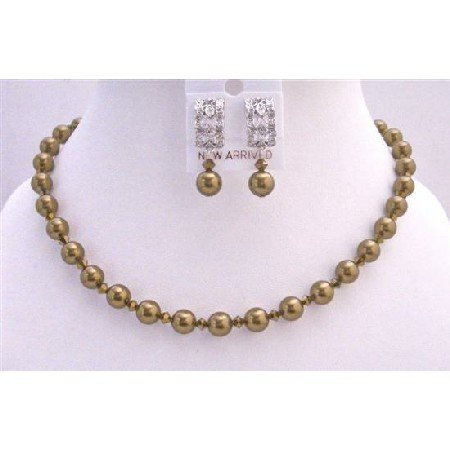 BRD725  Handcrafted Custom Brass Copper AB 2X Dorado Bride Jewelry Necklace Set