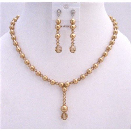 BRD722  Drop Down Golden Pearls Colorado Bridal Handcrafted Jewelry Set