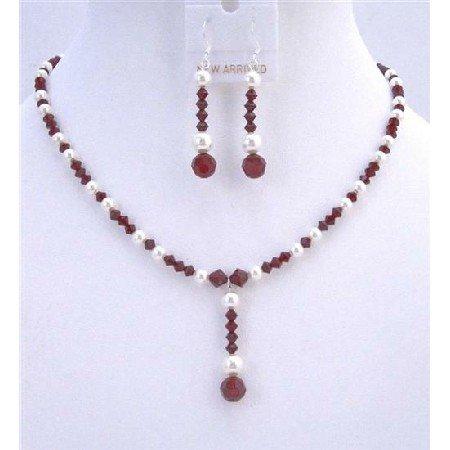 BRD737  Custom Bridal Jewelry Dark Siam Red Swarovski Crystals