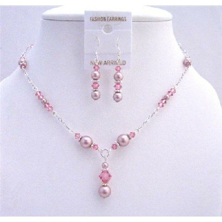 BRD743  Bridal Genuine Swarovski Pink Crystals Rose Pearls Jewelry Set