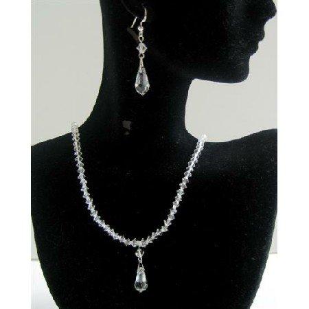 BRD600  Bridal Bridemaids Custom Jewelry Clear Crystals Jewelry Set