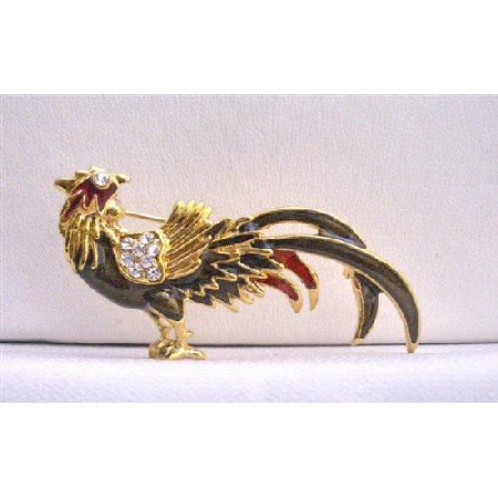 B246  Winter Brooch Jacket Animal Brooch Rooster Gold Plated Brooch w/ Cubic Zircon Brooch