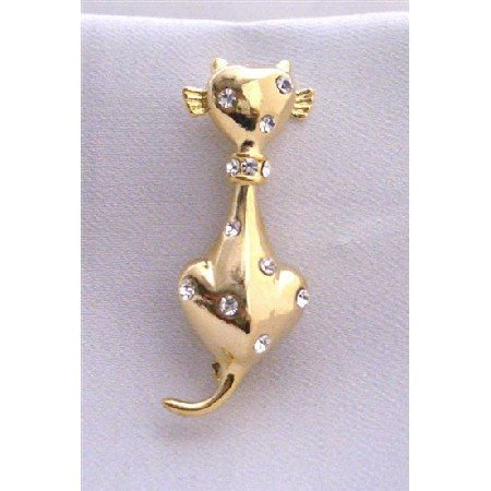 B243  Gold Pussy Cat Brooch Very Cute Brooch w/ Cubic Zircon On Body Brooch
