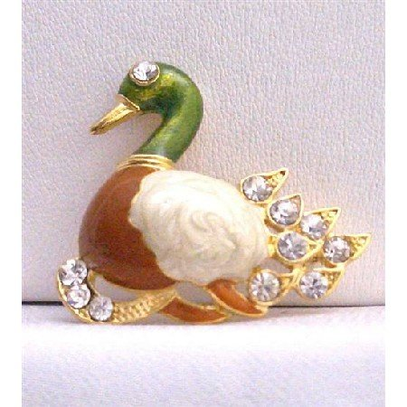 B231  Duckling Gold Plated Colorful Brooch Decorated w/ Cubic Zircon