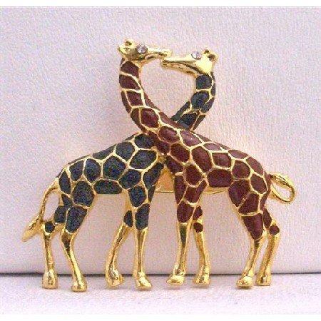 B226  Twin Giraffes Brooches Gold Plated Animal Brooch