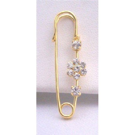 B088  Gold Metal Safety Pin w/ Cubic Zircon Flower Sparkle Like Diamond
