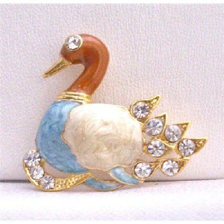 B234  Gold Plated Colorful Duckling Decorated w/ Cubic Zircon