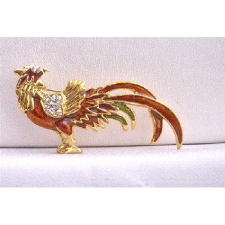 B245  Stunning Animal Brooches Red Rooster Gold Plated Brooch w/ Cubic Zircon Brooch