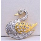 B237  Silver Glitter Animal Brooch Gold Plated Silver Duck w/ Gold Wings Decorated CZ