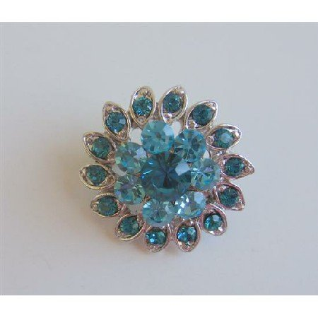B154  Aquamarine Cute Brooch Blue Aquamarine Flower Pin Brooch Silver Casting Pin Brooch