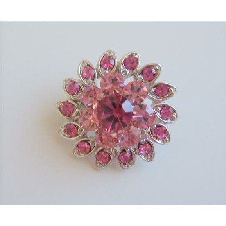 B153  Rose Pink Brooch Pink Flower Brooch Silver Casting Pin Brooch