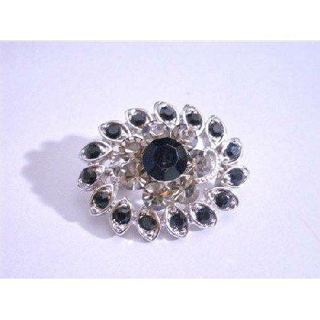 B071  Black Rhinestones Brooch Silver Casting Pin Brooch New/Stunner