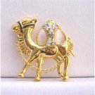 B225  Camel Gold Brooch Hump Cubic Zircon Glass Beads w/ Chain Camel Brooch