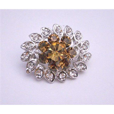 B058  Smoked Topaz Crystals Flower Brooch w/ Cubic Zircon Leaves Surrounded Beautiful Pin Brooch