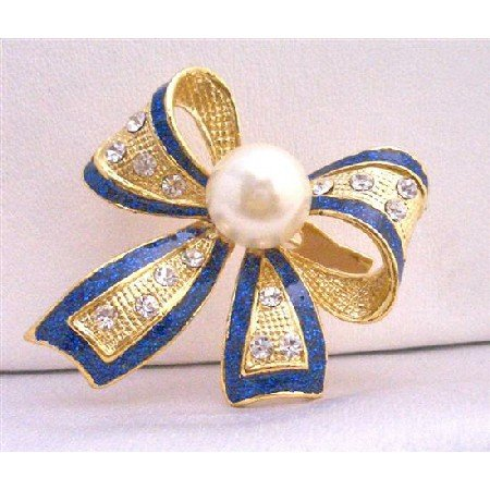 B191  Blue OUtline Bow Cubic Zircon Brooch w/ White Cultured Pearls Pin Brooch