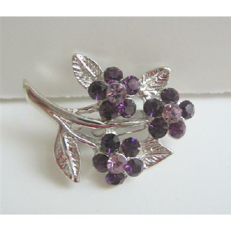 B094  Amethyst Crtstal Flower Silver Tone Fashion Flower Brooch w/ Silver plated Stem & Leaf