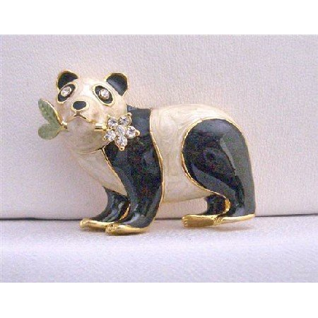 B228  Panda Black & White Brooch Gold Plated Panda Brooch w/ Flower
