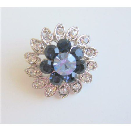 B083  Sapphire Flower Rhinestones Sparkling Simulated Diamond Brooch Silver Casting Pin Brooch