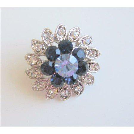 B083  Sapphire Flower Rhinestones Sparkling Simulated Diamond Brooch Silver Casting Pin Brooch
