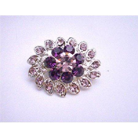 B091  Amethyst Flower Brooch Pin Simulated Light & Dark Amethyst Crystals Pin Brooch New
