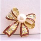 B193  Red OUtline Bow Cubic Zircon Brooch w/ White Cultured Pearls Pin Brooch