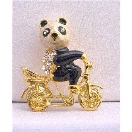 B229  Gold Plated Panda On Bike Brooch Gorgeous New Brooch