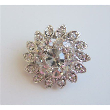 B150  Simulated Diamond Brooch Sparkling Brooch Silver Casting Pin Brooch