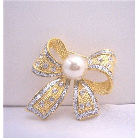 B044  Bow Cubic Zircon Leaf Brooch w/ White Cultured Pearls Pin Brooch