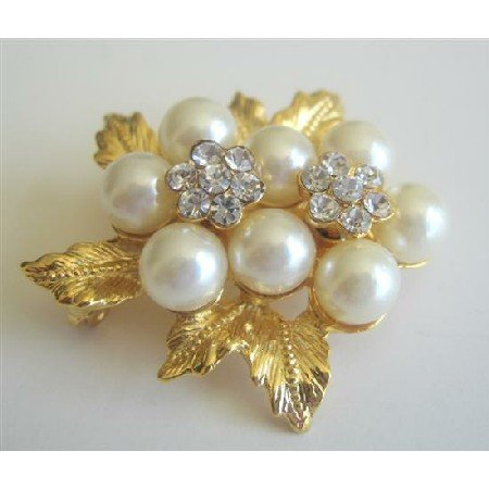 B008  Beautiful Bow w/ Pearls Brooch Pin Great Gift