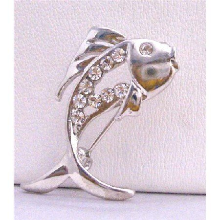 B201  Fish Brooch Fully Decorated w/ Cubic Zircon & Eye CZ