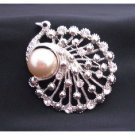 B171  Peacock Round Brooch Stylish Cubic Zircon Brooch w/ Pearls Brooch