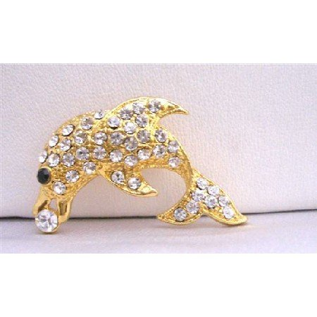 B196  Dolphin Gold Brooch Artistically Decorated w/ Cubic Zircon