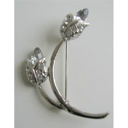 B074  Crystals Bridal Bridesmaid Genuine AB Crystals 2 Tulip Bud Brooch Pin w/ CZ