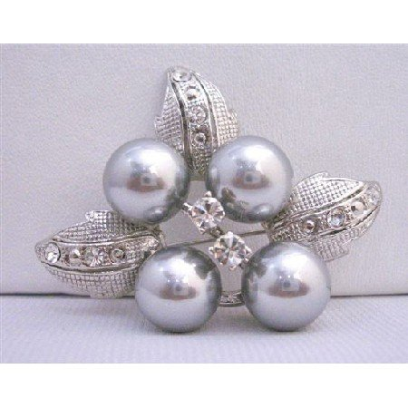 B190  Grey Flower Pearls Brooch w/ Silver Casting Leaves Decoraed Cubic Zircon Gorgeous Brooch