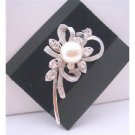 B123  Pearls Brooch Pin Stem Cubic Zircon Brooch
