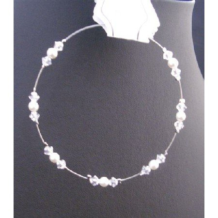TB692  White Pearls Clear Crystals Wire Bracelet Genuine Swarovski Clear Crystals & White Pearls
