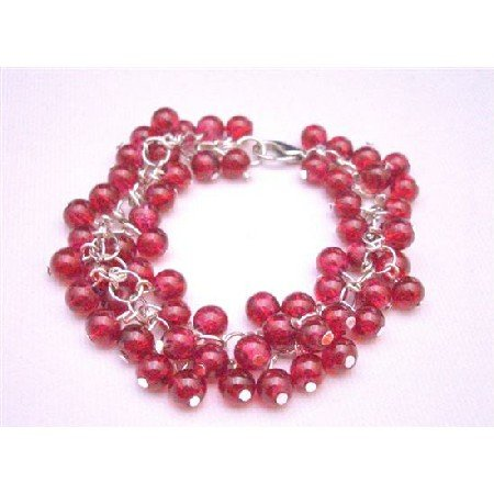 TB673  Fashionable Stylish Red Beads Bracelet