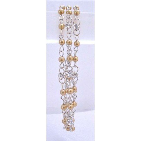 TB696  Three stranded Bracelet w/ Gold Pearls Cubic Zircon Stud As Spacer Bracelet Affordable
