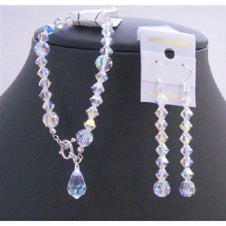 TB691  Bridal Bridemaids AB Crystals Teardrop Bracelet Genuine Swarovski AB Crystals Bracelet