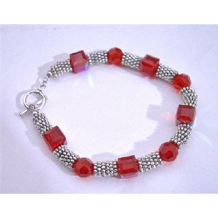 TB653  Siam Red Crystals Cube & Round 8mm Swarovski Crystals Bali Silver Spacer Bracelets