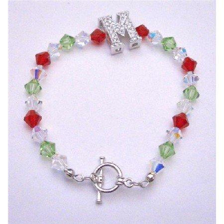 TB652  M Charm Bracelet Genuine Swoarovski Siam Red Peridot & AB Crystals Bracelet