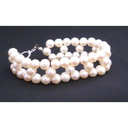 TB661  Cream Freshwater Pearls Tripple Strands Bracelet Superior Quality Freshwater Pearls Bracelet