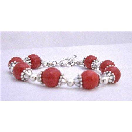 TB616  Coral Faceted Bracelet w/ Bali Silver Trendy Bracelet