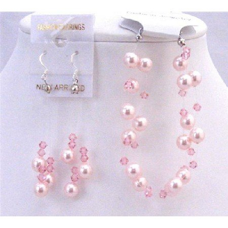 TB695  Swarovski Rose Pearls Pale Pink Crystals 3 Stranded Bracelet w/ Dangling Earrings