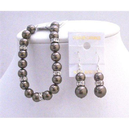 TB690  Darkest Brown Chocolate Pearls Bracelet & Earrings Set Exclusive Wedding Brown Bracelet