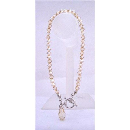 TB647  Swarovski AB Golden Shadow Bracelet w/ Briollette Bracelets